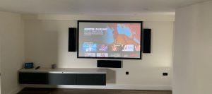 flat screen TV, flatscreen television, TV hanging,
